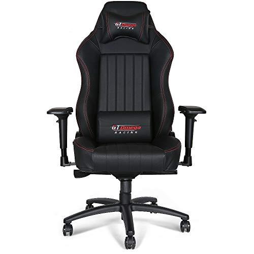 GT Omega Evo XL Racing - Sedia da Ufficio in Pelle Ideale per i Giocatori, Colore: Nero