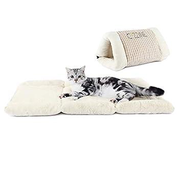 GBlife 2 en 1 Maison Couchage Animale Dômes Lit Matelas Amovibles Coussins Couvertures Hiver Chaud Tapis Confortable Foldable pour Chien Chat (1#)