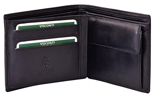 """Visconti portafoglio di pelle da uomo a piegatura tripla """"Monza"""" Italian Leather Wallet (MZ7): (nero (black))"""