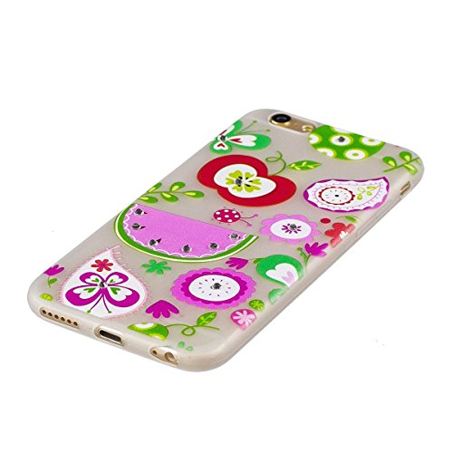 EUWLY Silicone Custodia Per iPhone 7 Plus/iPhone 8 Plus (5.5) TPU Copertura Cover Case Nottilucenti Luminoso Colorato Dipinta Flessibile TPU Silicone Custodia Caso Glitter Bling Brillante Strass Bell Fiore Frutta