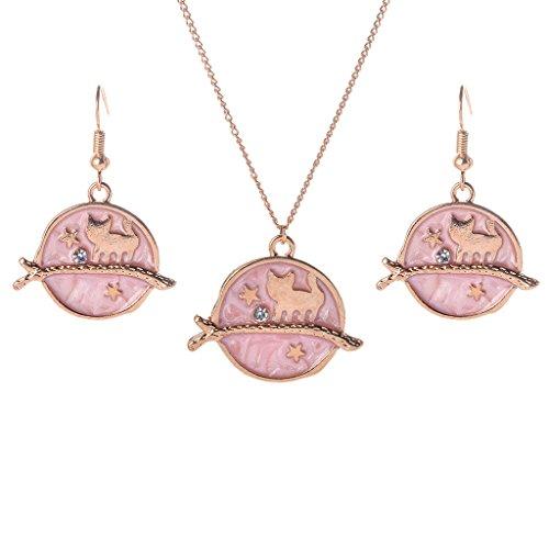 Senoow Ohrringe Halskette Dreamlike Set Sternenhimmel Cartoon Walking Kätzchen Katze Schmuck (rosa) -