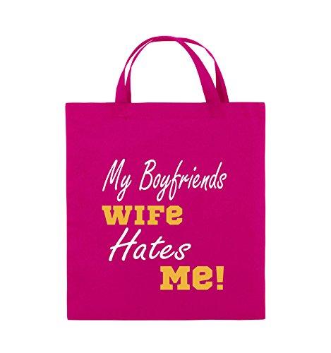 Comedy Bags - My boyfriends wife hates me! - Jutebeutel - kurze Henkel - 38x42cm - Farbe: Weiss / Rosa-Violet Pink / Gelb-Weiss