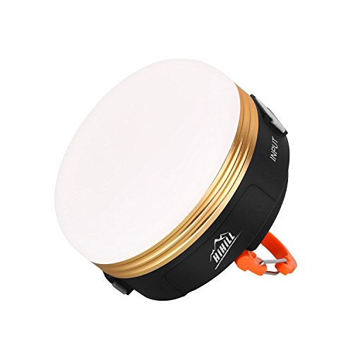 HiHiLL Campinglampe Mini Wiederaufladbare Camping Laterne 3W 3 Licht Modi Warmes Weiß mit USB Output für Campingtrip Wandern Abenteuer usw