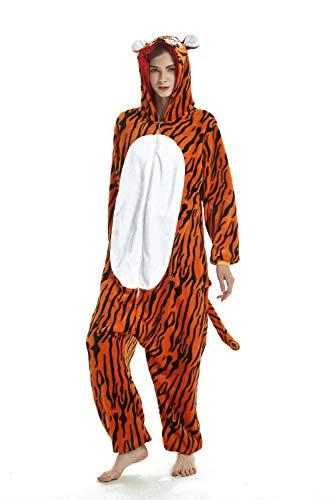 CADong Unisex Erwachsene Fleece-Einteiler Einhorn Einhorn Tier Halloween Weihnachten Cosplay Einteiler Kostüm Gr. M/ 155 cm/ 165 cm, Tiger (Tier Kostüm Konvention)