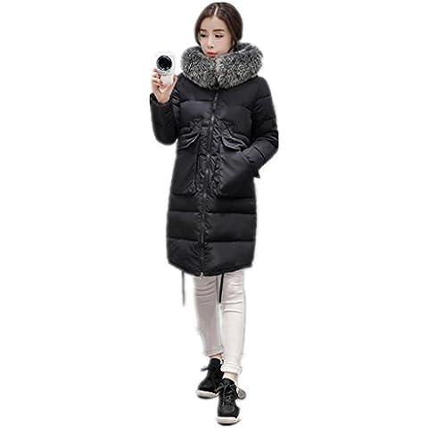 Jack Mall- Fashion Trend nel collare del rivestimento ispessimento cappotto lungo Sezione Giù cotone abiti larghi cotone Abbigliamento donna abbigliamento invernale ( colore : Nero , dimensioni : XXL )
