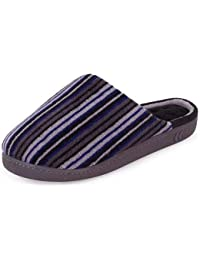 isotoner Mens Terry Stripe mule Slipper