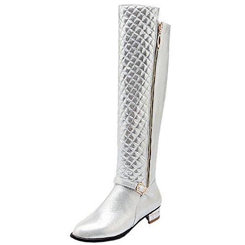 HooH Damen Overknee Stiefel Winter Warm Rhombus Reißverschluss Knie hoch Stiefel Silber 38 (Hohe Frauen Für Red Stiefel Knie)