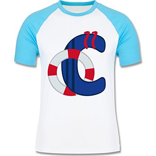 Anfangsbuchstaben - C Schifffahrt - zweifarbiges Baseballshirt für Männer  Weiß/Türkis