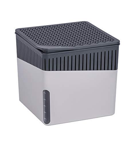 WENKO 50231100 Raumentfeuchter Cube, 500 g, Luftentfeuchter Fassungsvermögen: 0,8 l, 13 x 13 x 13 cm, grau
