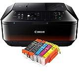 Canon Pixma MX925 MX-925 All-in-One Farbtintenstrahl-Multifunktionsgerät (Drucker, Scanner, Kopierer, Fax, USB, WLAN, LAN, Apple AirPrint) schwarz + 5er Set IC-Office XL Tintenpatronen 550XL 551XL