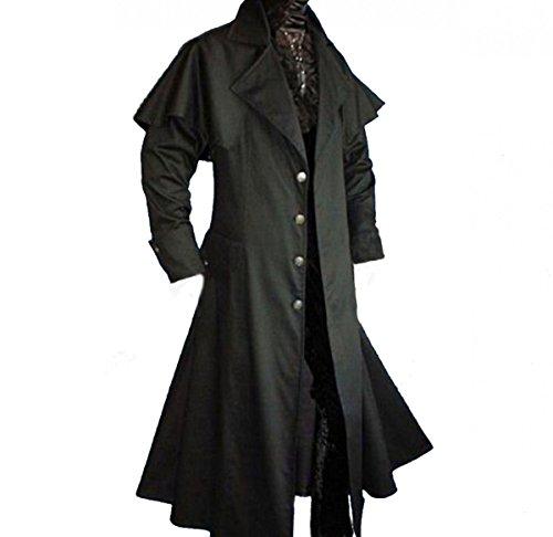 Dark Dreams Gothic Mittelalter LARP Vampir Jäger Kutscher Mantel Box Coat Belial schwarz, Farbe:schwarz, (Der Aus Box Kostüme)