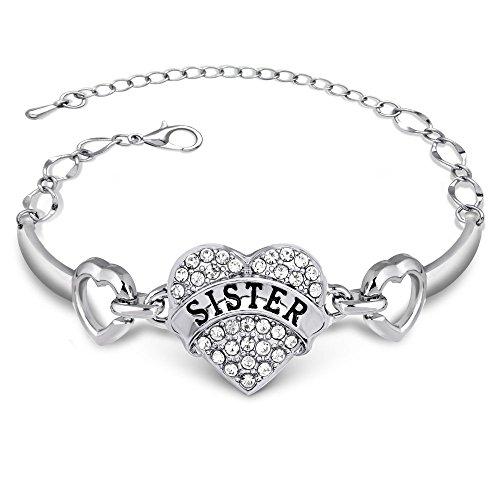 Bracciale con Cuore di cristalli, idea regalo per sorella maggiore o minore, da ragazza, 3 colori disponibili, base metal, colore: Sister Clear, cod. B-Sister