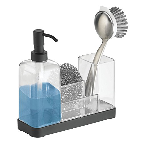 mDesign Sink Caddy - with Refillable Pump Soap Dispenser - Sink Tidy for Kitchen Sink Accessories - Transparent / Matt Black
