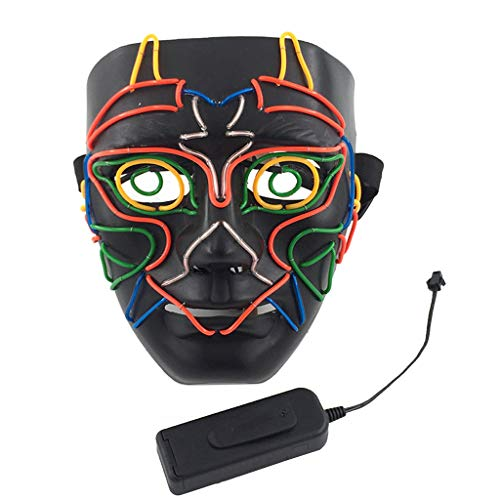 Dark Kostüm Glow - chenpaif Halloween Eule LED Maske Purge Cosplay Kostüm Rave DJ Party Vollgesichtsbeleuchtung Masken Glow In Dark Maskerade Supplies