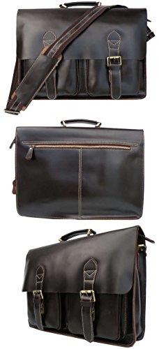 Everdoss Hommes sac à main en cuir sac de messager sac à bandoulière sac d'épaule sac d'ordinateur sac de business café foncé