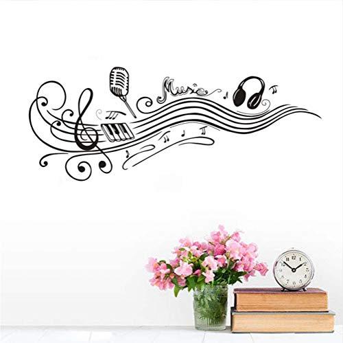 Abnehmbare Tanzen Musiknoten Wandtattoos Mikrofon Kopfhörer Vinyl Kunst Wandaufkleber Schlafzimmer Wohnkultur Für Musik zimmer 57 * 147 cm
