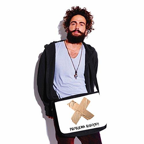 Borsa a tracolla Festa del Papà Problema risolto! - humor - happy fathers day - idea regalo - - dimensioni 35x30x11,5 cm Bianco