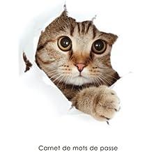 Carnet de mots de passe: Journal d'adresses de sites web et de mots de passe - Couverture avec un chat qui fait coucou