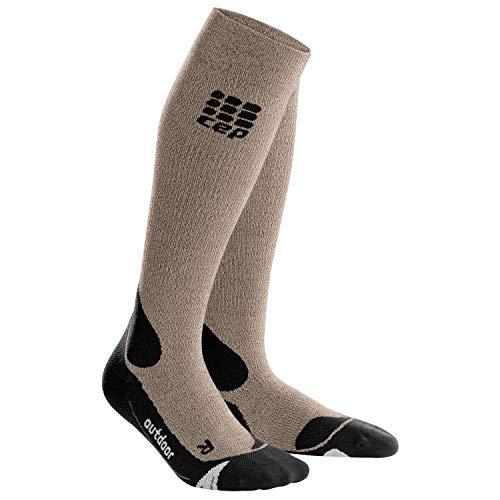 CEP - Outdoor Merino Socks für Herren   Warme Merino Wandersocken Knielang in beige/schwarz   Größe IV
