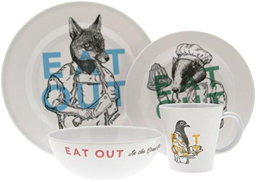 Preisvergleich Produktbild OLPro Eat Out Melamin Geschirr-Set (16-teilig) Weiß