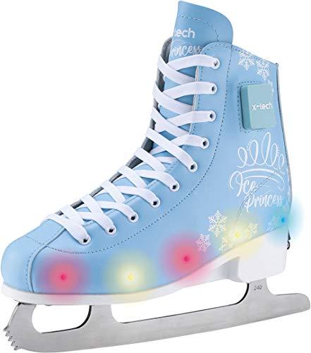 X-TECH Ice Star LED Schlittschuhe Ice Skates Jugendliche Youth Trend Leuchtend Schuhe Weltneuheit Mint rosa blau schwarz (lightblue/pink/Flower, 39-42)