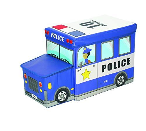 Bieco Aufbewahrungsbox mit Deckel Kinder Polizei, faltbar, Sitzhocker mit Sitzgelegenheit, und Polsterung, Spielzeugkiste mit Stauraum, Sitztruhe, Jungen & Mädchen, 46 L, Belastbar bis 80 Kg, blau