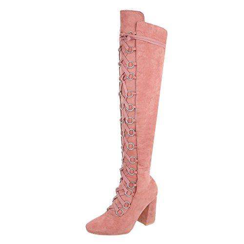 Ital-Design Overknees Damen-Schuhe Overknees Pump Schnürer Reißverschluss Stiefel Pink, Gr 41, Jr-009-