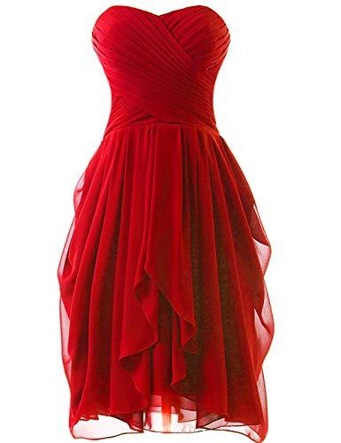 Robes Sans Bretelles Bal Eur38 Demoiselles Jaeden De Rouge Fête D'honneur Robe Court Cocktail Chiffon doxCBe