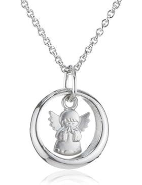 Xaana Kinder und Jugendliche-Anhänger Saphir 925 Sterling Silber rhodiniert blau Taufring Safir mit Engel betend...