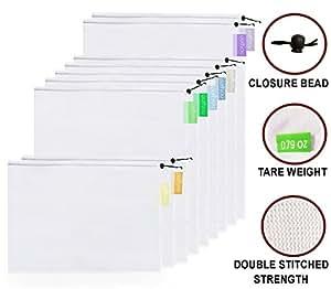 Purifyou, set di 9 sacchetti in tessuto di rete riutilizzabili, con morbide etichette color pastello, due grandi di circa 30 x 43 cm, cinque media di circa 30 x 35 cm, e due piccole di circa 30 x 20 cm