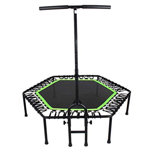LWY Silent Fitness Trampolin Elastisches Bett Verstellbare Armlehnen Indoor üBungstrainer Elastic Cord 48 Zoll PP Jump Cloth