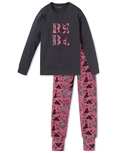 Schiesser Zweiteiliger Schlafanzug Rebel Mädchen Anzug lang, Grau (Anthrazit 203), 152 (Herstellergröße: S)