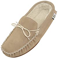 Bushga Mens Beige Suede/Sheepskin Wool Moccasins with Rubber Sole - UK 11