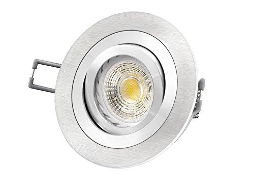 LED Einbau-Strahler RF-2 schwenkbar, Einbau-Leuchte Aluminium gebürstet, SMD 3,5W warm-weiß, GU10 230V [IHRE VORTEILE: einfacher EINBAU, hervorragende LEUCHTKRAFT, LICHTQUALITÄT und VERARBEITUNG] auch z.B. für Carport und Vordach