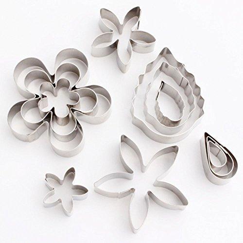 Ausstechformen, yoohome Set von 12Mini-Blume und Blatt Cookie Cutter Edelstahl, Teig Ausstechformen für Kekse, Cupcake Dekoration, Kuchen Dekoration, Zuckerguss, Zuckerkunst