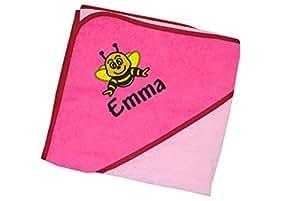 wolimbo kapuzenbadetuch 140x140cm mit namen und motiv farbe rosa pink das individuelle und. Black Bedroom Furniture Sets. Home Design Ideas