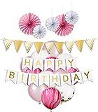 My Pinata Deko Geburtstag, Geburtstag Dekoration Set in rosa für Mädchen, Party Deko mit Happy Birthday Girlande, Konfetti Luftballons, rosa und Mamor Luftballons