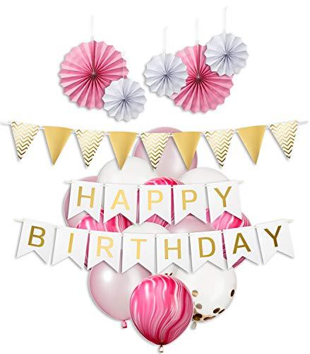 (My Pinata Deko Geburtstag, Geburtstag Dekoration Set in rosa für Mädchen, Party Deko mit Happy Birthday Girlande, Konfetti Luftballons, rosa und Mamor Luftballons)