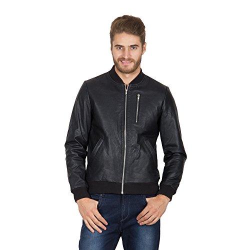 Hypernation Black Color Long Sleeves Pure Leather Jackets For Men