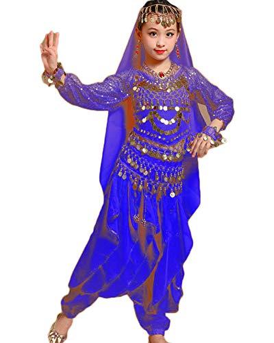Guiran Kinder Mädchens Damen Faschings-Kostüm Indische Bauchtänzerin Kostüme Saphirblau S Höhengeeignet 85-100CM (Indische Bauchtänzerin Kostüm)
