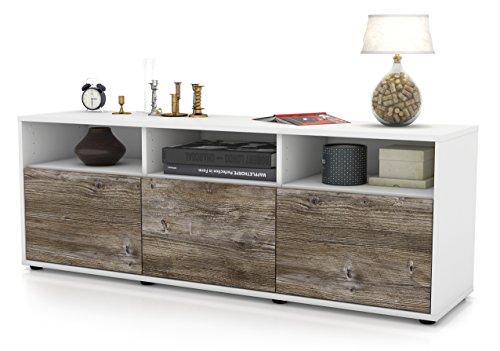 Stil.Zeit Möbel TV Schrank Lowboard Andrina, Korpus in Weiss Matt/Front im Holz-Design Treibholz (135x49x35cm), mit Push-to-Open Technik, Made in Germany