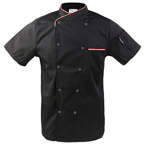F Fityle Herren Damen Kochjacke mit Drückknöpfe Bäckerjacke Arbeitsjacke Kochhemd Chefmantel Gastronomie Berufsbekleidung - Schwarz, 3XL