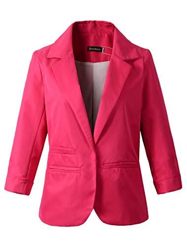 - Damen Boyfriend Blazer Tailored Jacke (XL, Rosa)