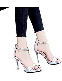 Silver Summer palabra hebilla de tacones altos de moda bien con dedo del pie abierto 10 cm sandalias ( Color :...