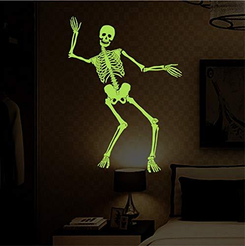 (WFYY Halloween Party Dekoration Leuchtende Schädel Wandaufkleber Fluoreszierende Wohnkultur Im Dunkeln Leuchten PVC Wandtattoos 60X90 cm)