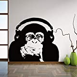 Njuxcnhg Denken Gorilla Wandtattoos Kunst Design Dekoration Vinyl AFFE Musik Wandaufkleber Schlafzimmer Wandkunst WandbildCM 61x53cm