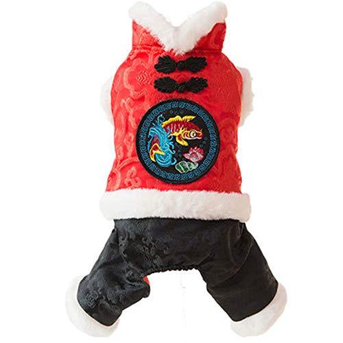 HUIFEI Tang-Anzug Hund Kleidung Herbst Und Winter Dicken Teddy Bomei Als Bär Haustier Winter Dicke Warme Vierbeinige Kleidung Retro-Taste (größe : M(3-3.5kg 4-5kg)) (Drei-tasten-anzug)