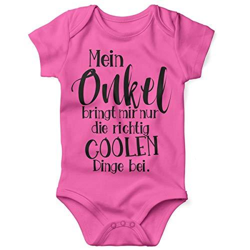 Kostüm Papa Und Mir - Mikalino Babybody mit Spruch für Jungen Mädchen Unisex Kurzarm Mein Onkel bringt Mir nur die coolen Dinge bei | handbedruckt in Deutschland | Handmade with Love, Grösse:62, Farbe:pink