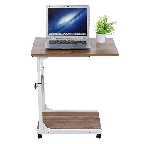 GOTOTOP Multifunktionaler Rolltisch Pflegetisch Sofatisch Laptoptisch Beistelltisch mit Rollen, zweilagig, höhenverstellbar 55-80cm (Antike Eiche)