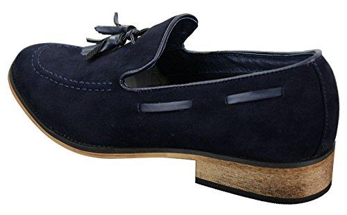 Chaussures italiennes mocassins hommes daim cuir Driving pompon sans lacets bleu noir marron Bleu Marine